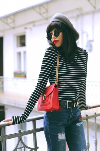top grey hat tumblr french girl style stripes striped top bag red bag chain bag beret hat denim jeans blue jeans embroidered jacket embroidered sunglasses round sunglasses
