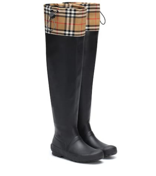 Burberry Check and rubber boots in black
