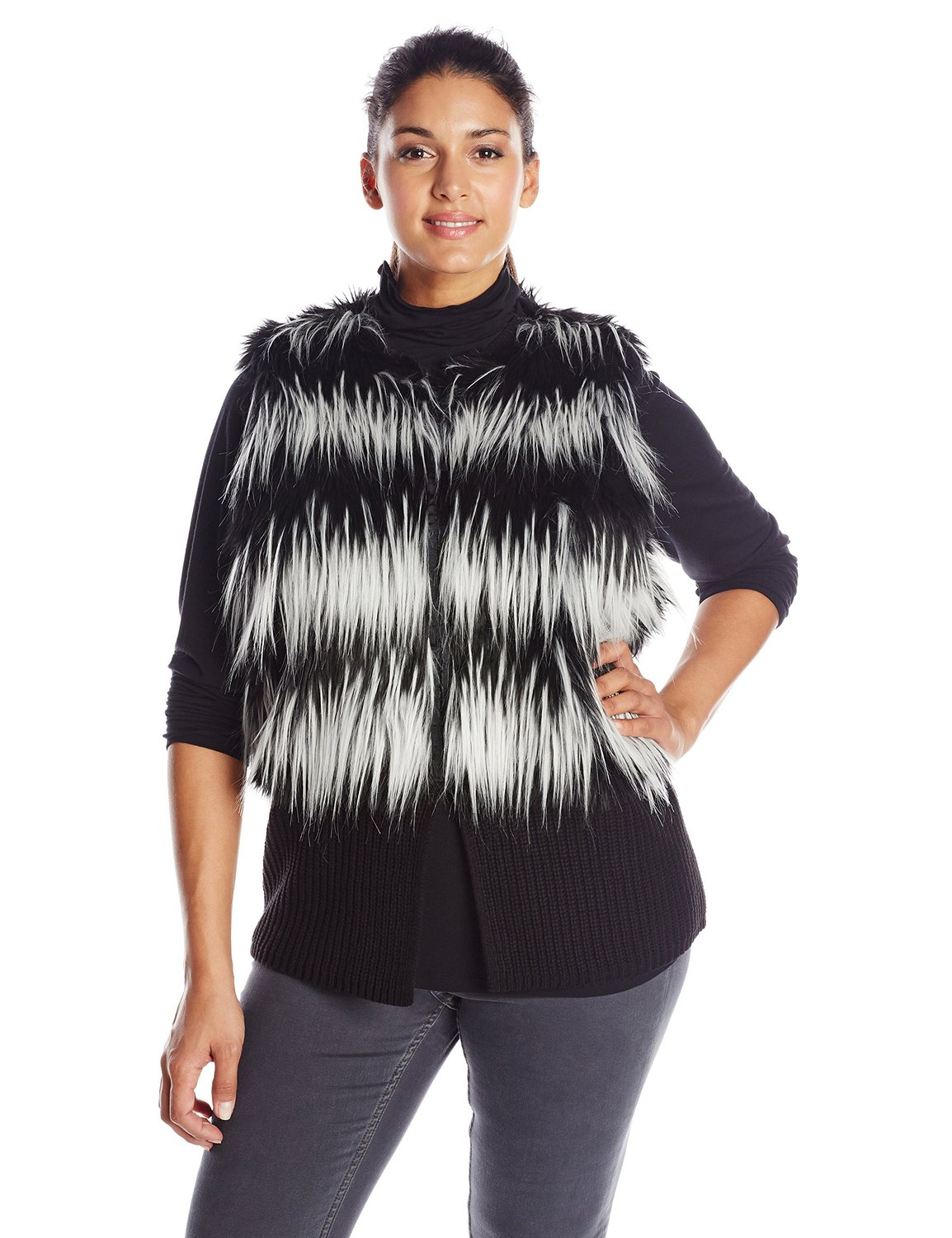 Size striped faux fur sweater vest at amazon women's clothing store: