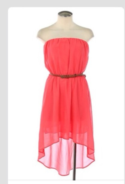 dress pink coral hilo hi-lo high low