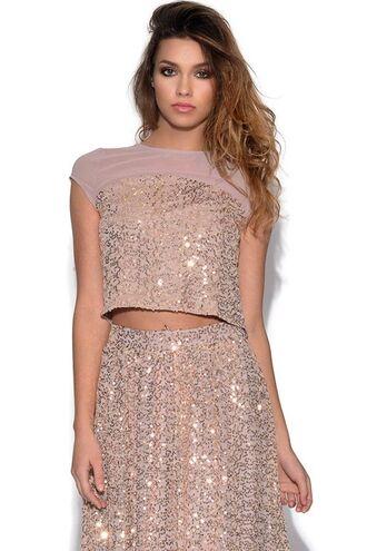 top gold sequins cap sleeves sheer top sequin embellished crop top www.ustrendy.com