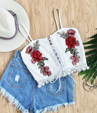 blouse girly white embroidered lace lace up crop tops crop