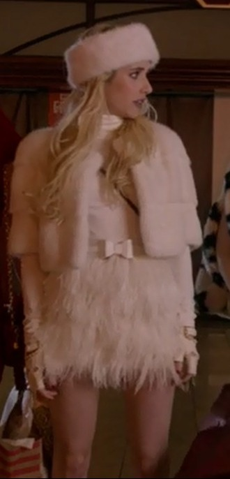 skirt emma roberts chanel oberlin scream queens white feather skirt cropped fur jacket
