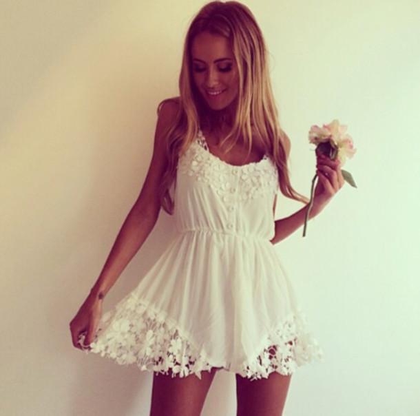 dress jumpsuit romper white crochet romantic summer dress white flower dress white dress. Black Bedroom Furniture Sets. Home Design Ideas