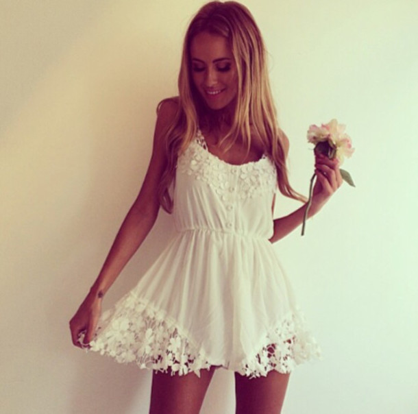 Dress: romper- romper- white- crochet- romantic summer dress ...