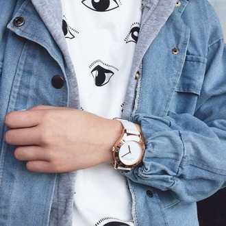 eyes grunge shirt hipster woman girl eye lashes jacket eye shirt top grunge jean jacket grunge jacket sweater white black shirt fashion retro hoodie