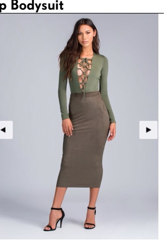 blouse lace up top long sleeves olive green sexy sexy dress