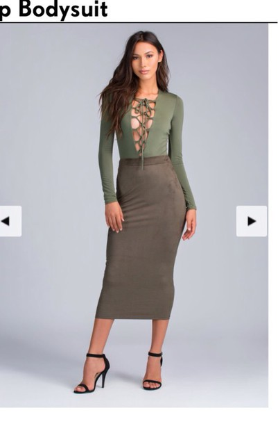 d4d87e1f80 blouse lace up top long sleeves olive green sexy sexy dress