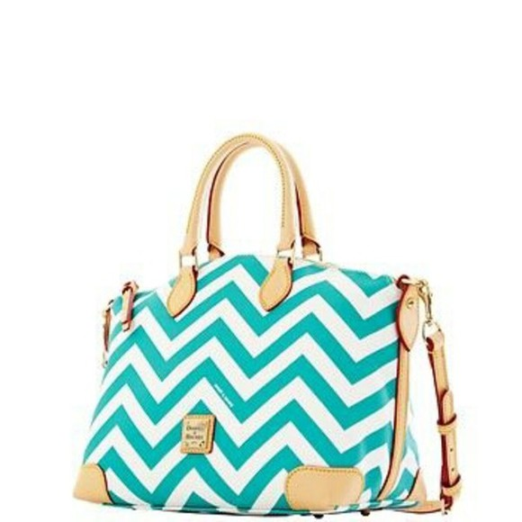 chevron teal satchel bag dooney & bourke tan purse