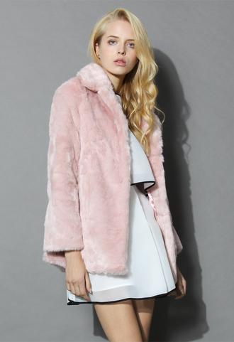 coat pink marshmallow faux fur coat chicwish pink fur