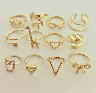 jewels gold knuckle ring ring heart birds giraffe infinity diamonds