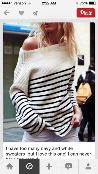 sweater blue and white stripes off the shoulder sweater stripes off the shoulder