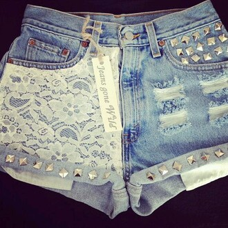 shorts lace jeans ripped light wash studs studded holes grungy