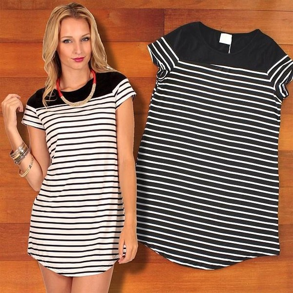 dress black white stripes striped dress monochrome