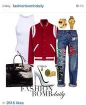 bodysuit,jeans,bag,watch,jewels,baseball jacket,jacket,shoes,top