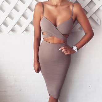 dress taupe sexy gray