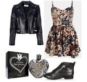 dress,black jacket,black boots,flowers,black dress,leather jacket,cute dress,cute outfits,cute  outfits,instagram,american horror story,summer dress,summer outfits,summer beauty