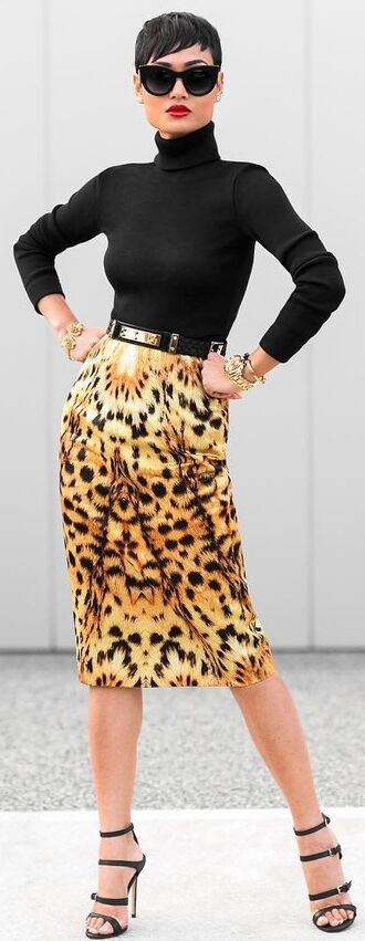 skirt turtleneck top pencil skirt exotic print printed pencil skirt turtleneck black turtleneck top leopard print leopard print skirt gold watch black sunglasses strappy heels black stilettos