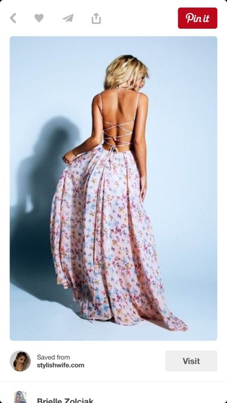 dress maxi dress strappy dress backless dress floral dress pink dress