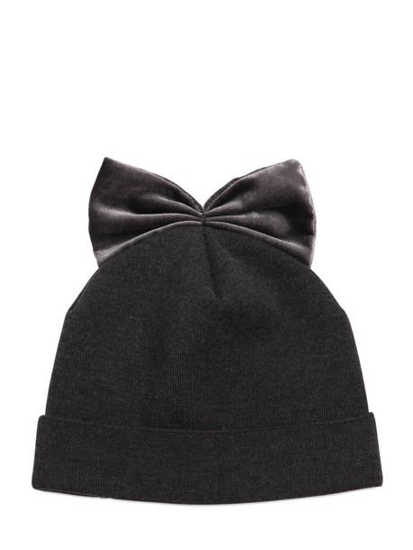 FEDERICA MORETTI bow hat wool velvet dark grey