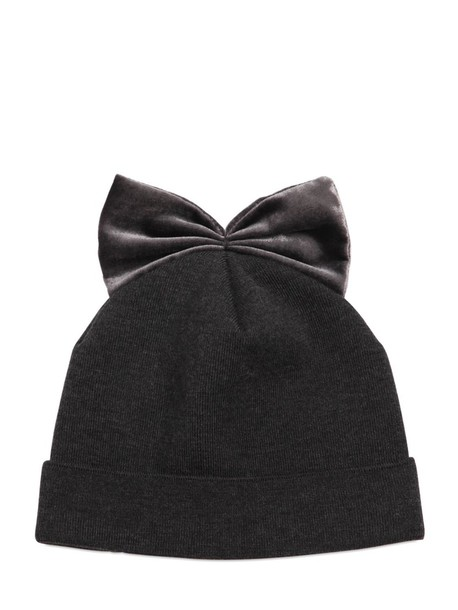 bow hat wool velvet dark grey