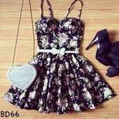 belt,bag,dress,black dress,flowerpower