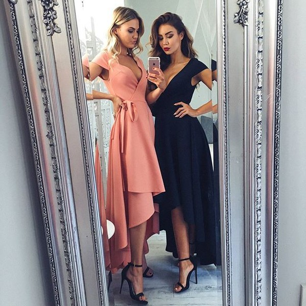 7b3453fd90d dress blush formal dress deep v neckline maxi dress black formal dress  capped sleeves
