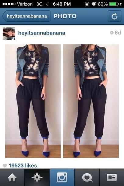 pants harem pants black pants jeans graphic top top denim jacket jacket