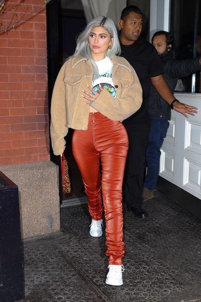 jacket orange kylie jenner kardashians celebrity sneakers casual fall outfits
