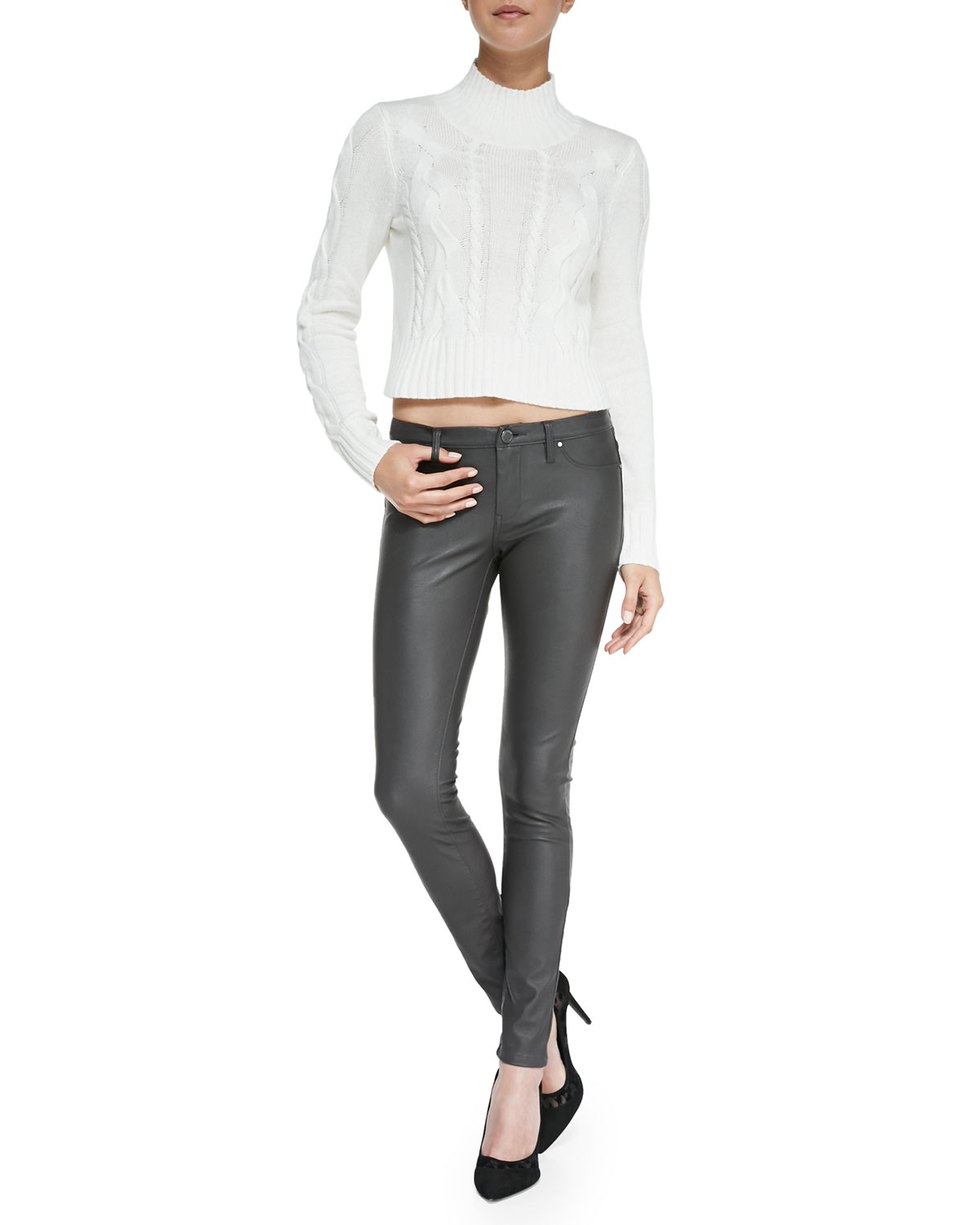 Day Faux-Leather Leggings, Gray