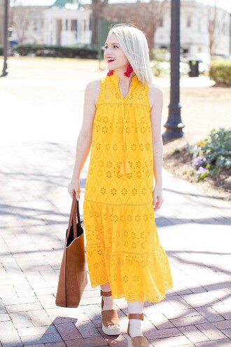 poor little it girl blogger dress wedges midi dress yellow dress tote bag spring outfits sandals shoes