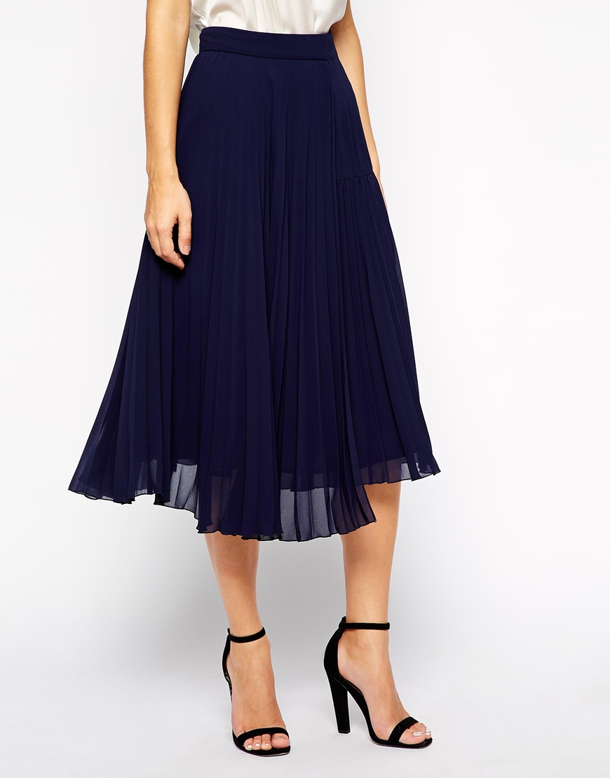 Whistles Daphne Pleat Skirt with Asymmetric Hem at asos.com