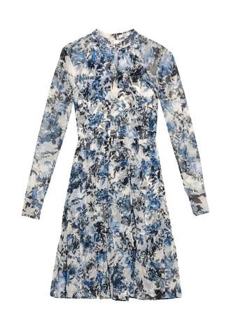 dress chiffon dress chiffon print silk white blue