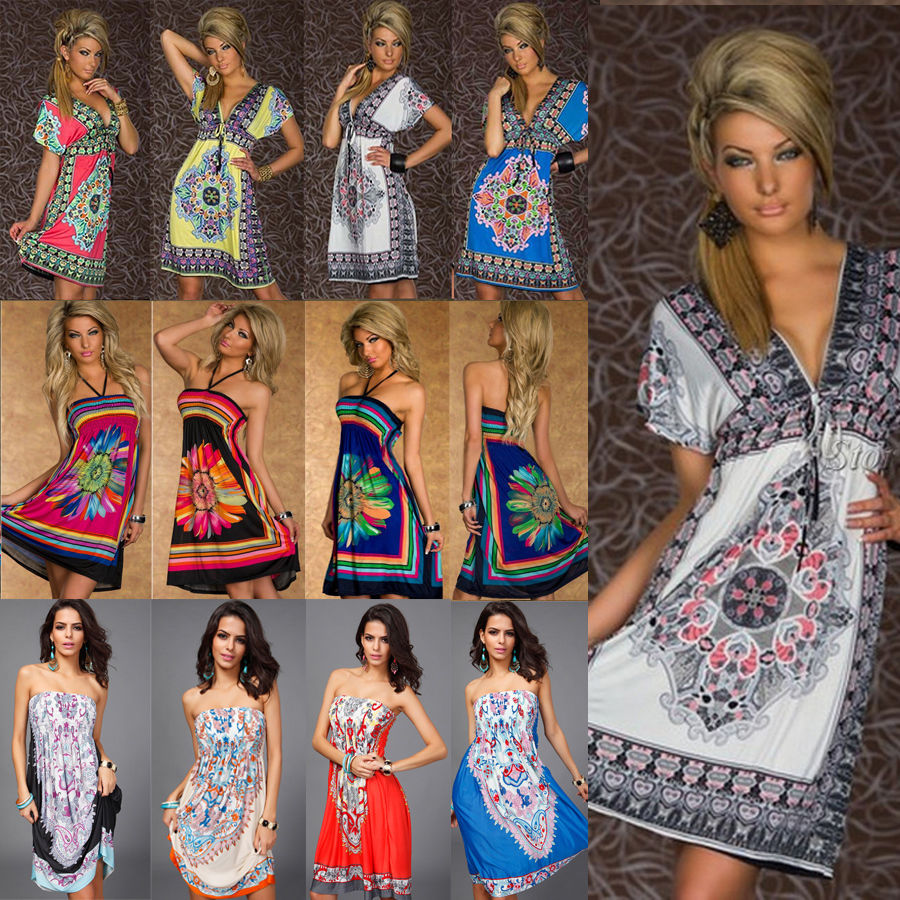 Neck mini dress skirt halter floral beach boho maxi sundress