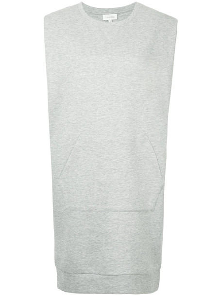 Ck Calvin Klein dress knitted dress sleeveless women cotton grey