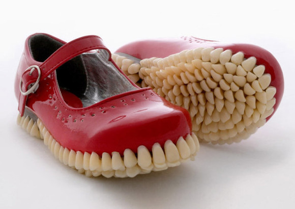 red shoes teeth teeth shoes tooth freaky weird weird shoes