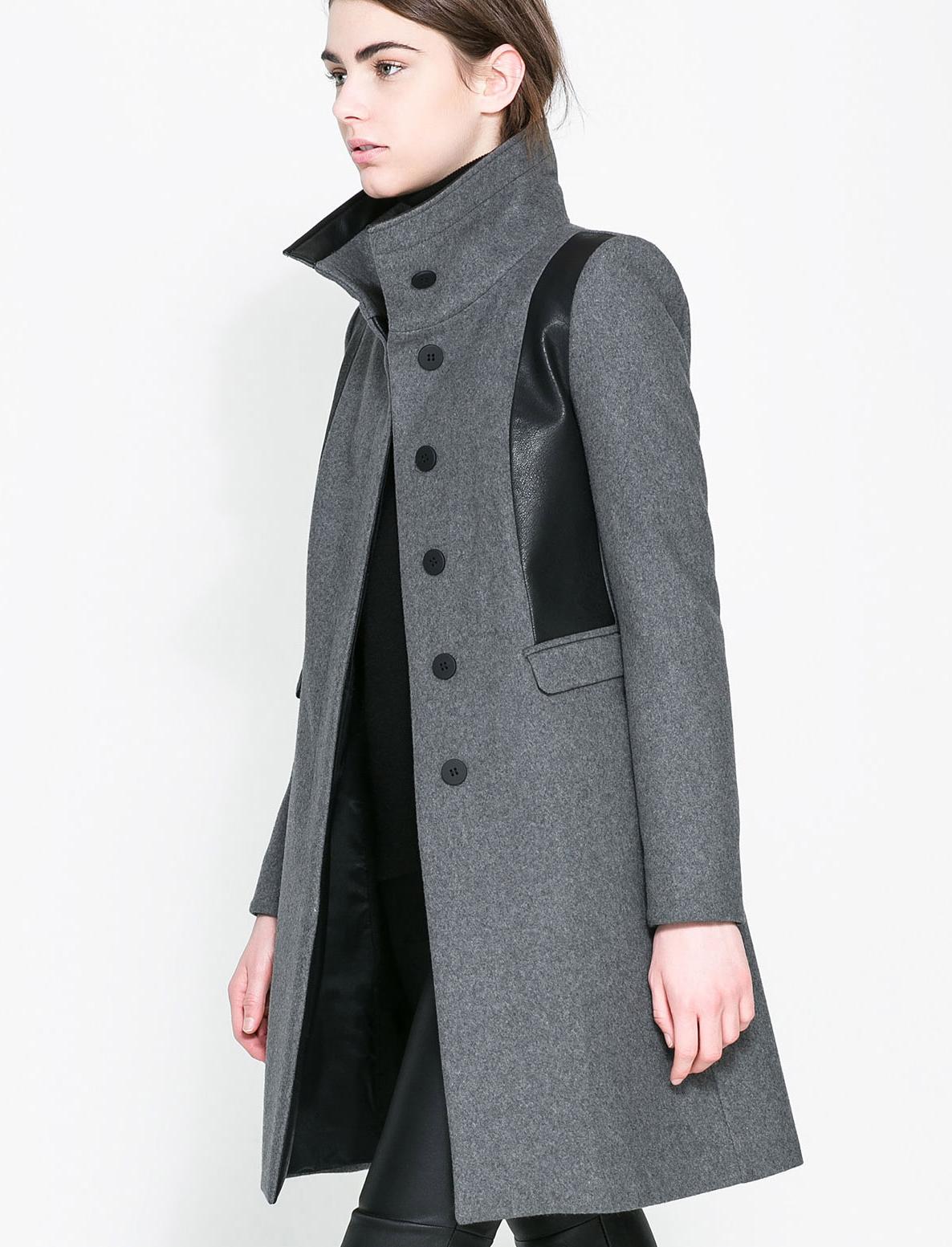 Abrigo Trench de lana bolsillos combinado polipiel-gris