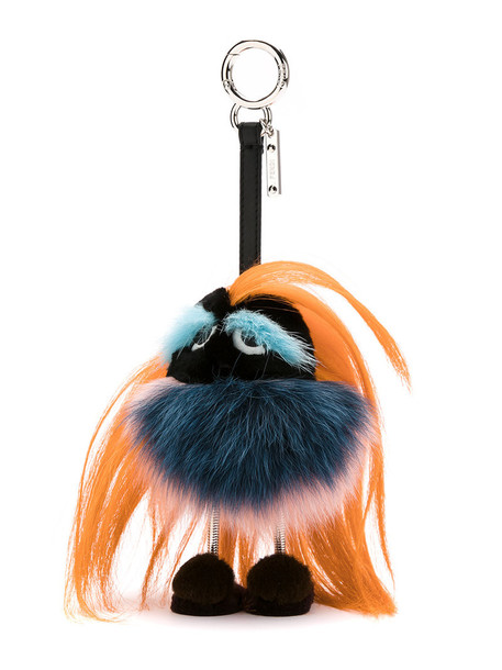 Fendi bag charm fur fox women bag yellow orange