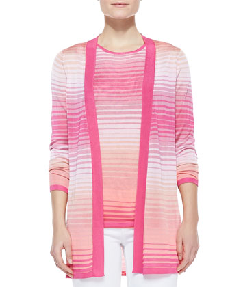 Magaschoni Ombre Knit Open-Stitch Cardigan - Neiman Marcus