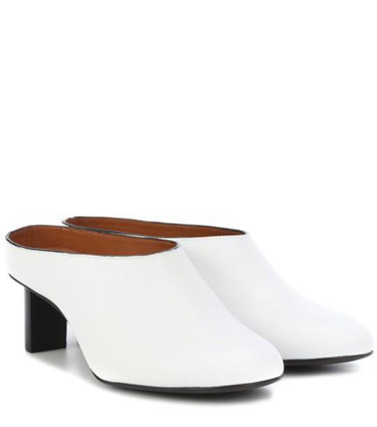 Joseph Leather mules in white