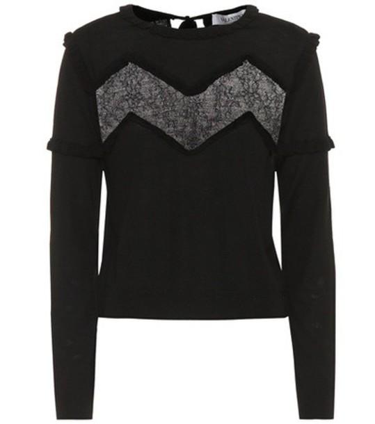 sweater wool sweater lace wool black