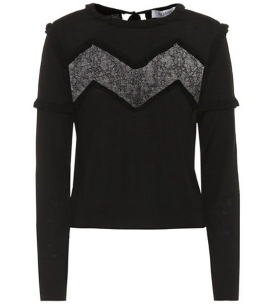 Valentino Lace-trimmed wool sweater in black