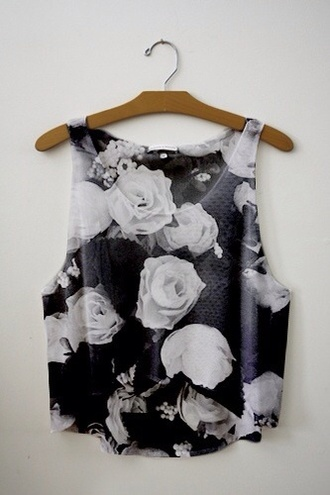 top white rose sleeveless top   - black and grey black and white floral