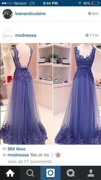 dress sleeveless gown purple dress lace dress lace detailed dress lace detailing blue/indigo gown belt sparkle dress floorlength gown classy dress v neck dress see through skirt elegant dress cutout back dress bow dress sleeveless dress modnessa beautiful ball gowns beautiful purple dress