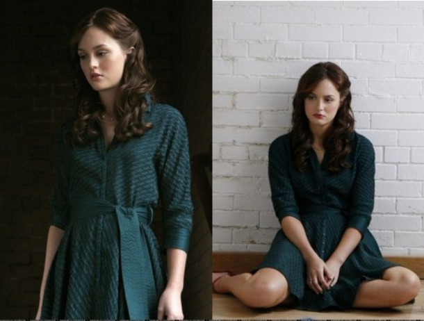 blair waldorf leighton meester green dress gossip girl dress jewels