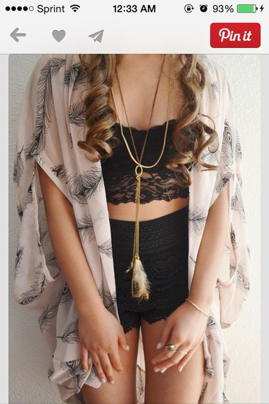 blouse kimono cardigan feathers jewels shorts jacket