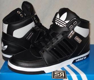 shoes adidas black white hightops
