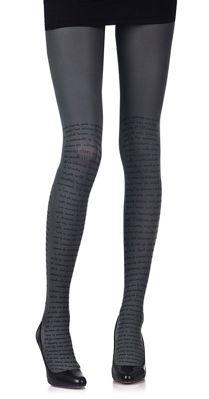 Love Text Print Tights Grey & Black- Zohara - Free Shipping