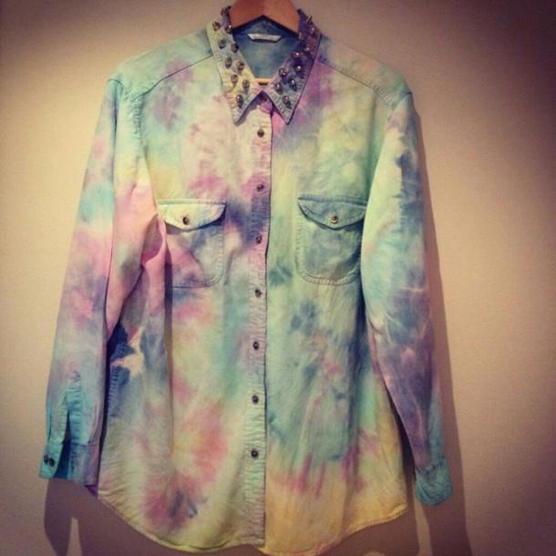 shirt chemise en jeans rainbow shirt studded shirt
