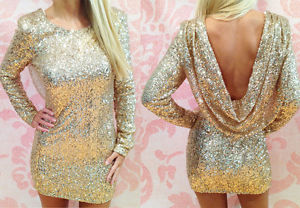 """Morgan"" Gold Full Sequin Backless Drape Cowl Sparkly Bodycon Dress Sizes 6-14 